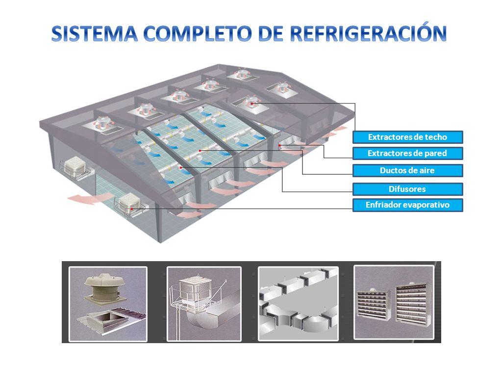 Extractores de techo Extractores de pared Ductos de aire Difusores Enfriador evaporativo