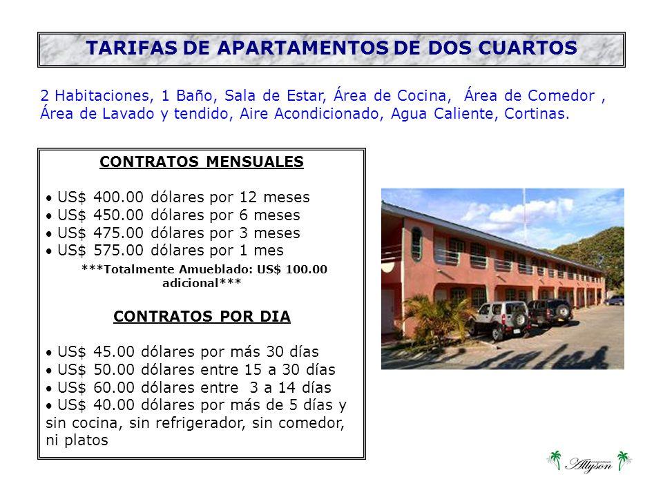 2 Habitaciones, 1 Baño, Sala de Estar, Área de Cocina, Área de Comedor, Área de Lavado y tendido, Aire Acondicionado, Agua Caliente, Cortinas.