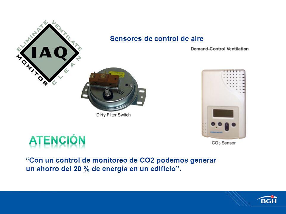 Sensores de control de aire Con un control de monitoreo de CO2 podemos generar un ahorro del 20 % de energía en un edificio.