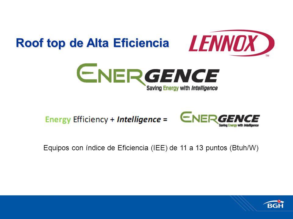 Roof top de Alta Eficiencia Equipos con índice de Eficiencia (IEE) de 11 a 13 puntos (Btuh/W)