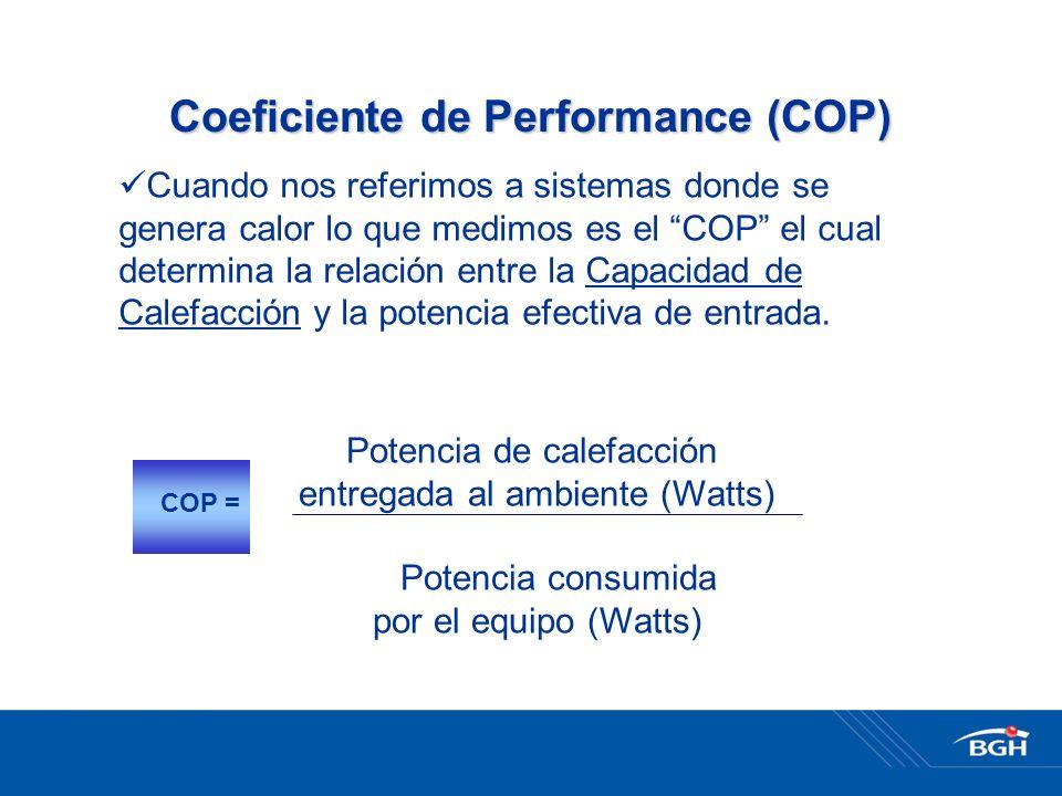 Coeficiente de Performance (COP) Cuando nos referimos a sistemas donde se genera calor lo que medimos es el COP el cual determina la relación entre la Capacidad de Calefacción y la potencia efectiva de entrada.