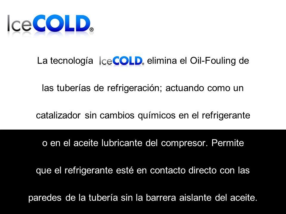 La tecnología elimina el Oil-Fouling de las tuberías de refrigeración; actuando como un catalizador sin cambios químicos en el refrigerante o en el aceite lubricante del compresor.