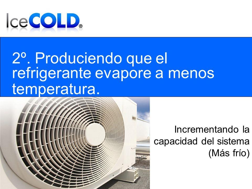 2º. Produciendo que el refrigerante evapore a menos temperatura.
