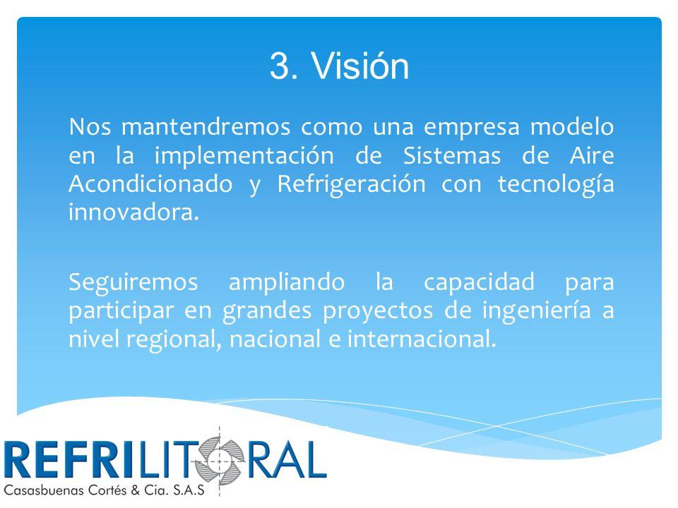 2. Misión En REFRILITORAL CASASBUENAS CORTÉS & CÍA S.A.S, diseñamos, construimos y mantenemos sistemas de Aire Acondicionado, Ventilación y Refrigerac