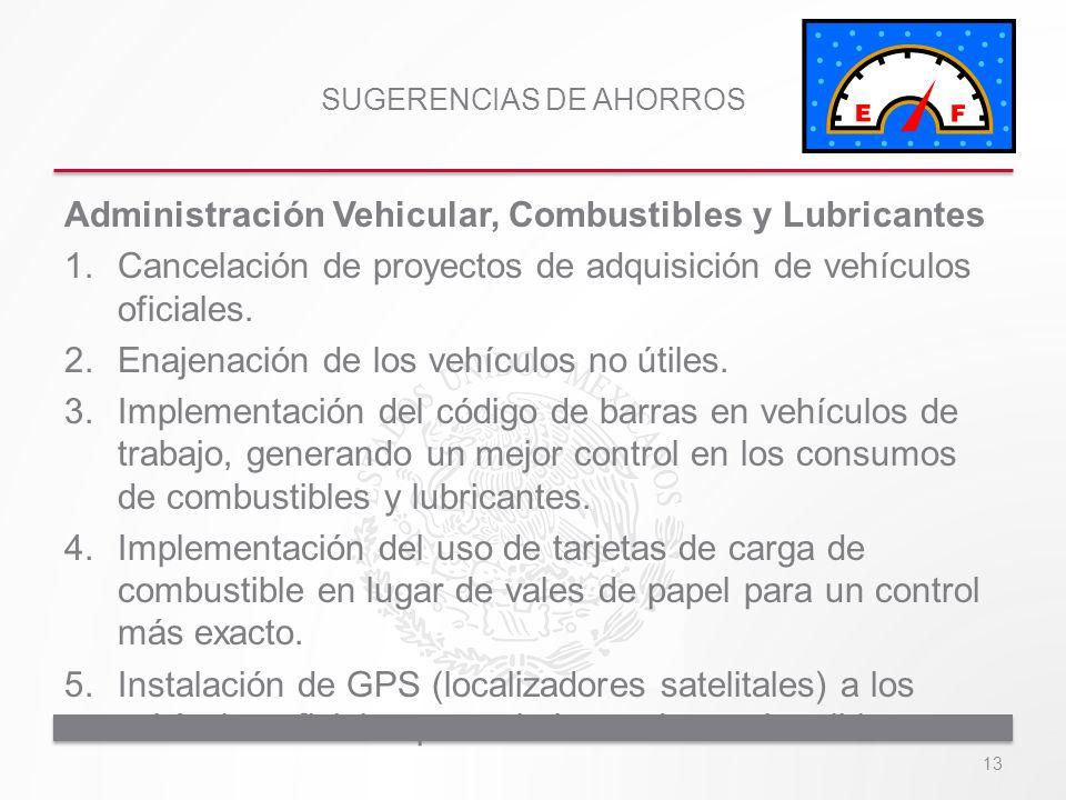 SUGERENCIAS DE AHORROS Administración Vehicular, Combustibles y Lubricantes 1.Cancelación de proyectos de adquisición de vehículos oficiales. 2.Enajen