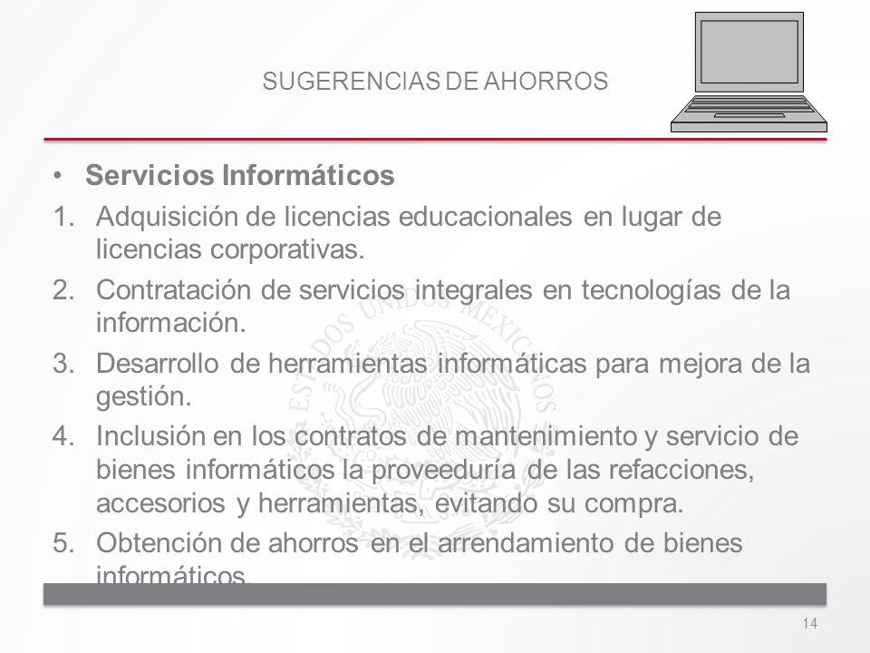 SUGERENCIAS DE AHORROS Servicios Informáticos 1.Adquisición de licencias educacionales en lugar de licencias corporativas. 2.Contratación de servicios