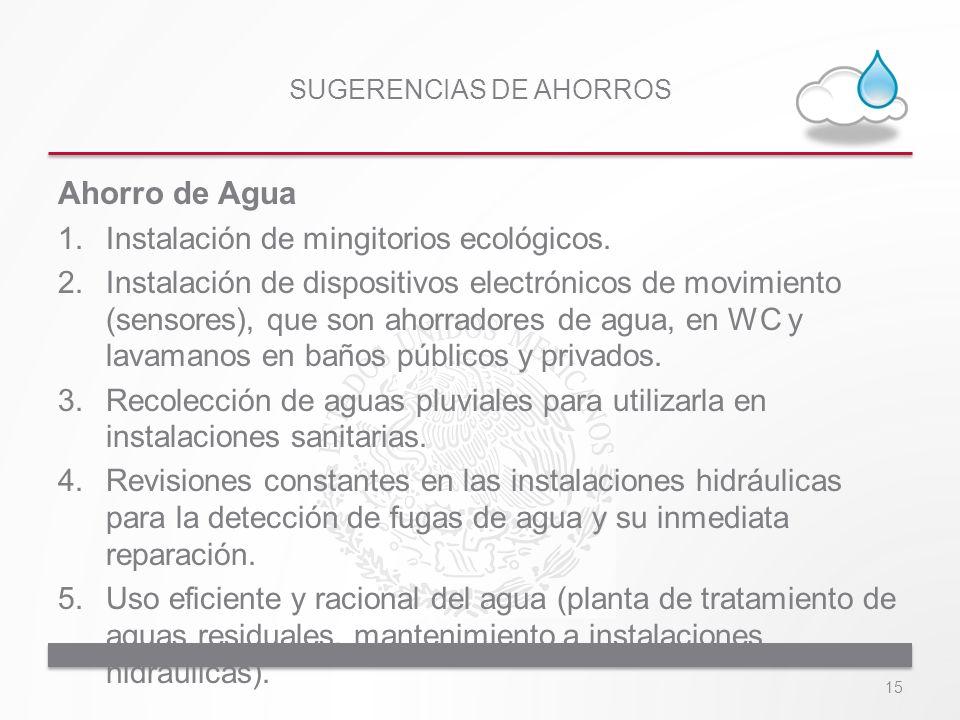 SUGERENCIAS DE AHORROS Ahorro de Agua 1.Instalación de mingitorios ecológicos. 2.Instalación de dispositivos electrónicos de movimiento (sensores), qu
