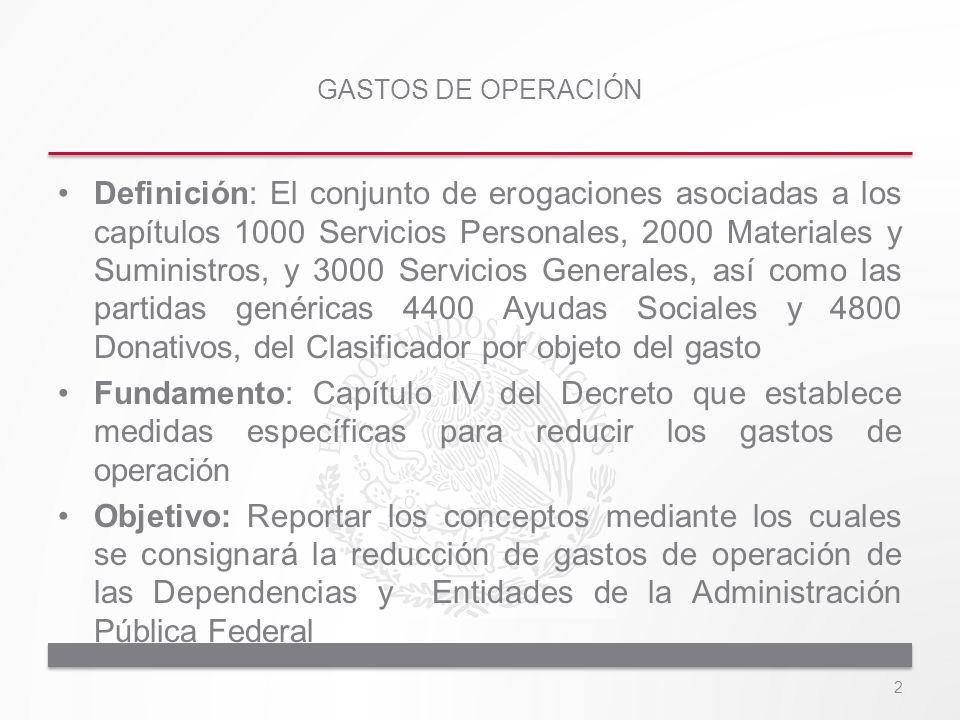 Definición: El conjunto de erogaciones asociadas a los capítulos 1000 Servicios Personales, 2000 Materiales y Suministros, y 3000 Servicios Generales,