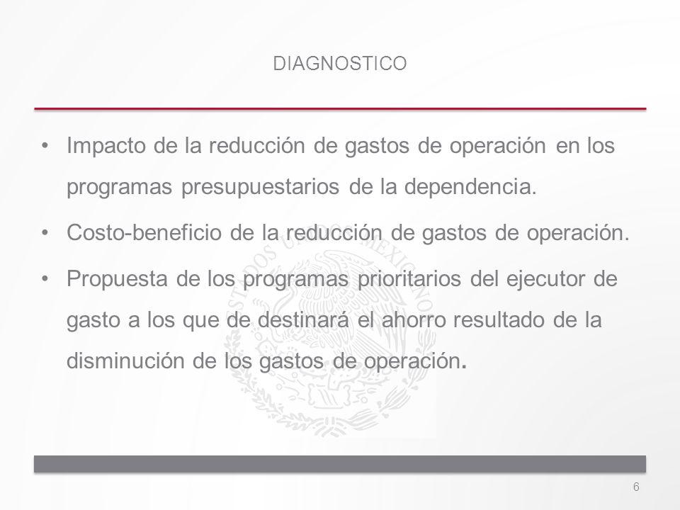 Impacto de la reducción de gastos de operación en los programas presupuestarios de la dependencia. Costo-beneficio de la reducción de gastos de operac