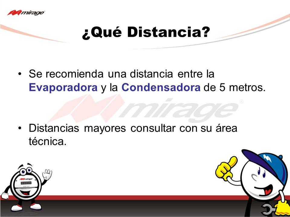 ¿Qué Distancia? Se recomienda una distancia entre la Evaporadora y la Condensadora de 5 metros. Distancias mayores consultar con su área técnica.