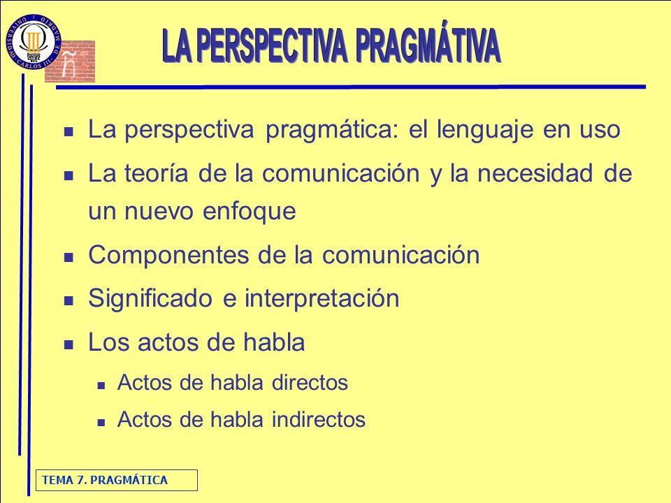 TEMA 7. PRAGMÁTICA La perspectiva pragmática: el lenguaje en uso La teoría de la comunicación y la necesidad de un nuevo enfoque Componentes de la com