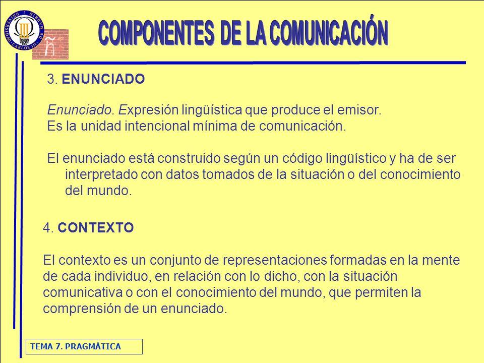 TEMA 7. PRAGMÁTICA 3. ENUNCIADO Enunciado. Expresión lingüística que produce el emisor. Es la unidad intencional mínima de comunicación. El enunciado