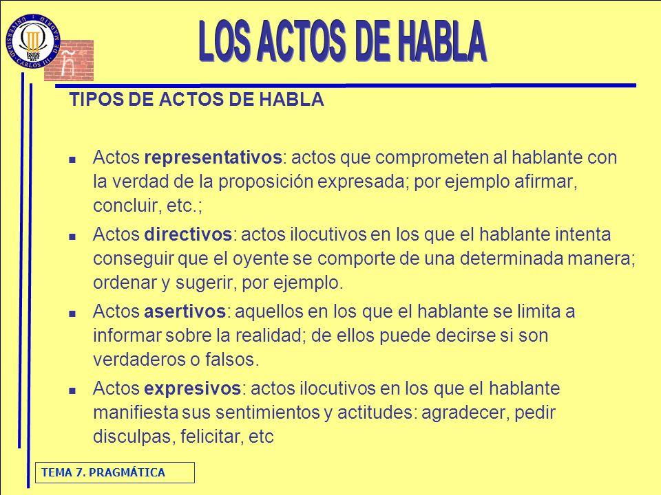 TEMA 7. PRAGMÁTICA TIPOS DE ACTOS DE HABLA Actos representativos: actos que comprometen al hablante con la verdad de la proposición expresada; por eje