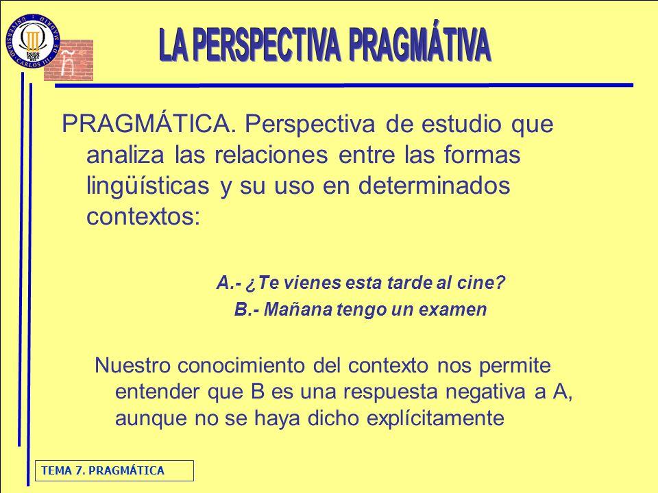 TEMA 7. PRAGMÁTICA PRAGMÁTICA. Perspectiva de estudio que analiza las relaciones entre las formas lingüísticas y su uso en determinados contextos: A.-