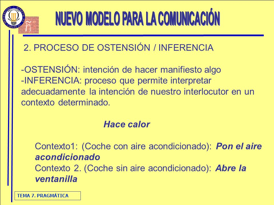 TEMA 7. PRAGMÁTICA 2. PROCESO DE OSTENSIÓN / INFERENCIA -OSTENSIÓN: intención de hacer manifiesto algo -INFERENCIA: proceso que permite interpretar ad