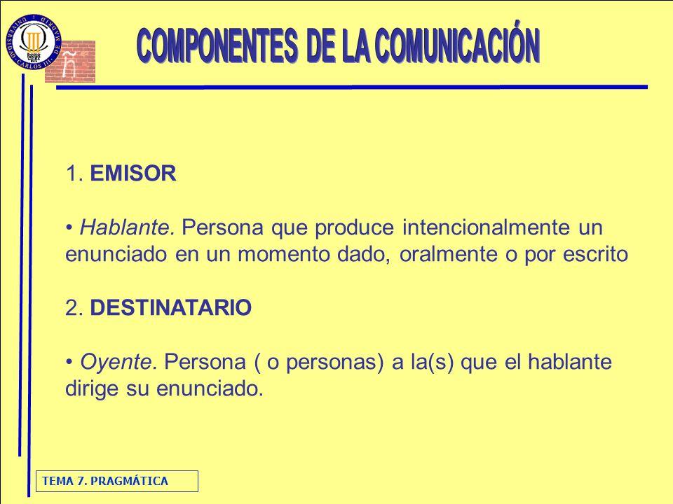 TEMA 7.PRAGMÁTICA 3. ENUNCIADO Enunciado. Expresión lingüística que produce el emisor.