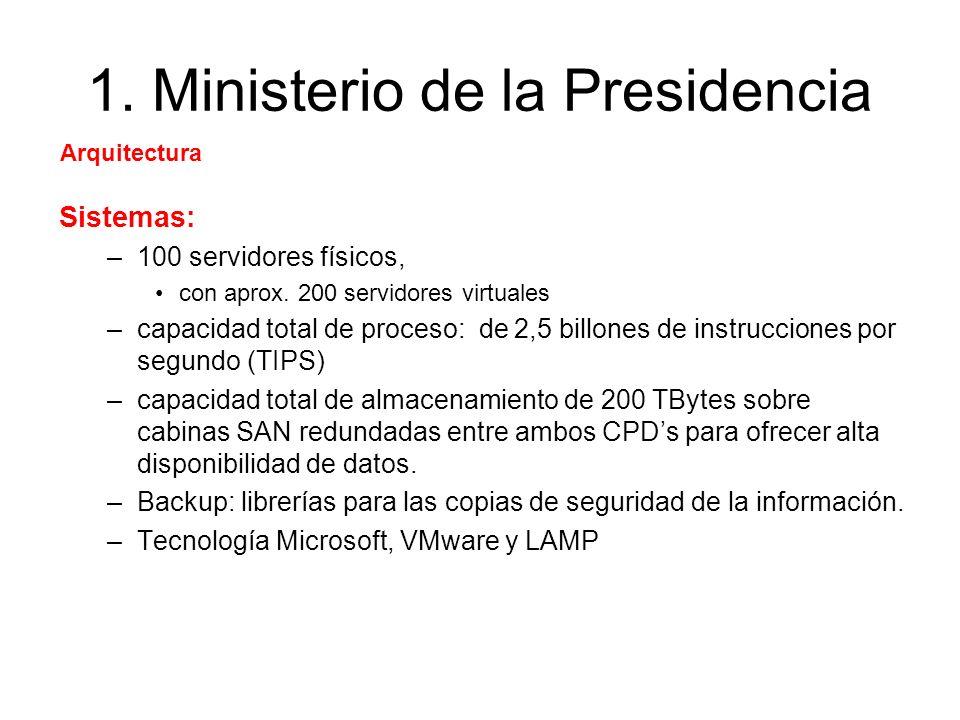 1. Ministerio de la Presidencia Sistemas: –100 servidores físicos, con aprox. 200 servidores virtuales –capacidad total de proceso: de 2,5 billones de