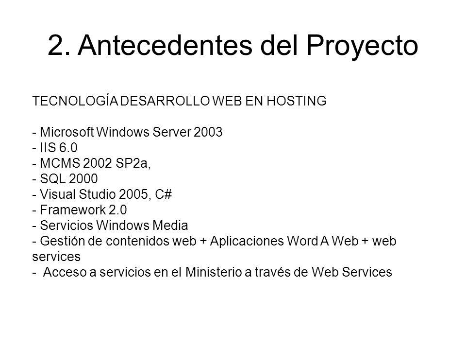 TECNOLOGÍA DESARROLLO WEB EN HOSTING - Microsoft Windows Server 2003 - IIS 6.0 - MCMS 2002 SP2a, - SQL 2000 - Visual Studio 2005, C# - Framework 2.0 -