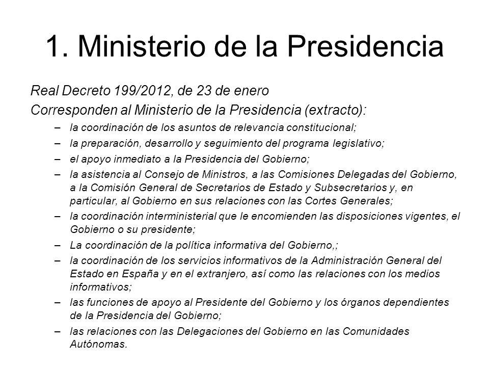 1. Ministerio de la Presidencia Real Decreto 199/2012, de 23 de enero Corresponden al Ministerio de la Presidencia (extracto): –la coordinación de los