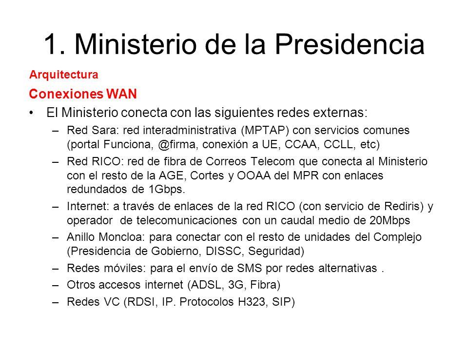 1. Ministerio de la Presidencia Conexiones WAN El Ministerio conecta con las siguientes redes externas: –Red Sara: red interadministrativa (MPTAP) con