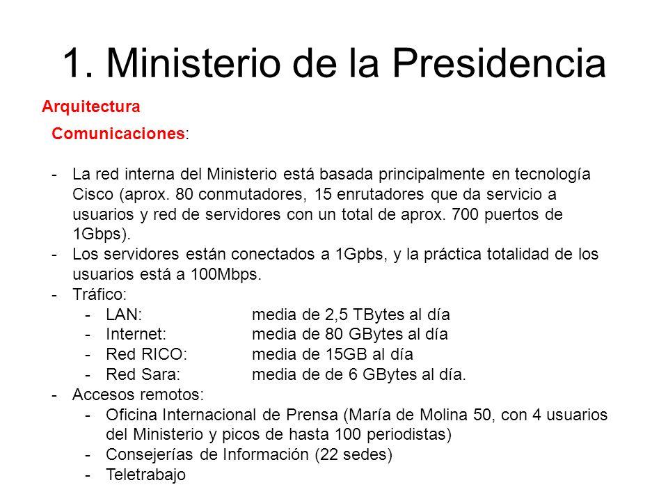 1. Ministerio de la Presidencia Comunicaciones: -La red interna del Ministerio está basada principalmente en tecnología Cisco (aprox. 80 conmutadores,