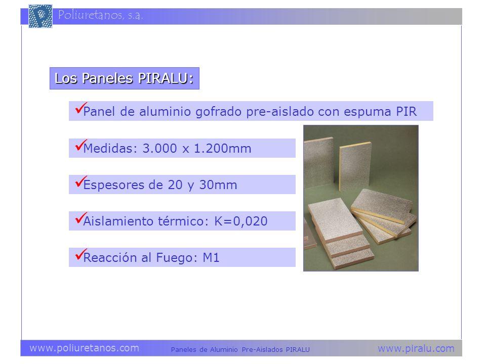 www.piralu.com Paneles de Aluminio Pre-Aislados PIRALU www.poliuretanos.com Poliuretanos, s.a. Panel de aluminio gofrado pre-aislado con espuma PIR Lo