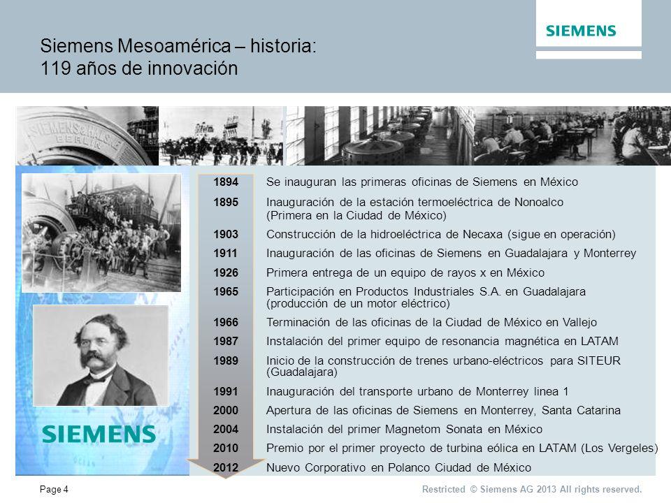 Page 5 Nuestra Presencia Bases solidas con 119 años de experiencia Restricted © Siemens AG 2013 All rights reserved.