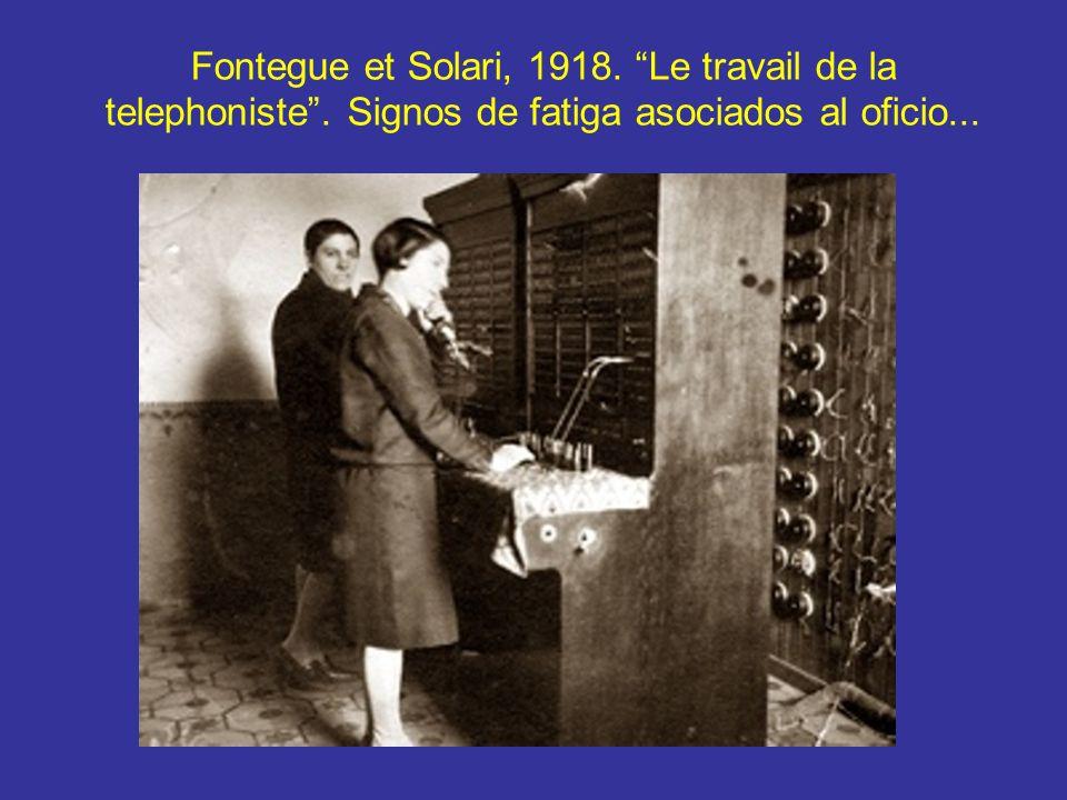 Fontegue et Solari, 1918. Le travail de la telephoniste. Signos de fatiga asociados al oficio...