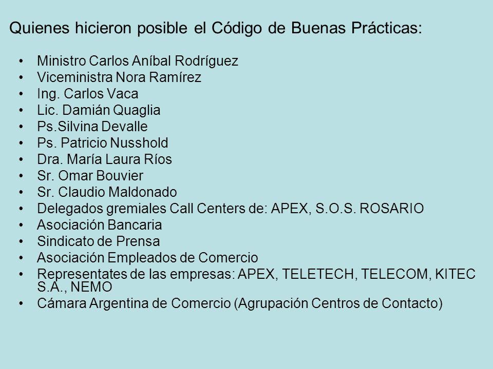 Quienes hicieron posible el Código de Buenas Prácticas: Ministro Carlos Aníbal Rodríguez Viceministra Nora Ramírez Ing.