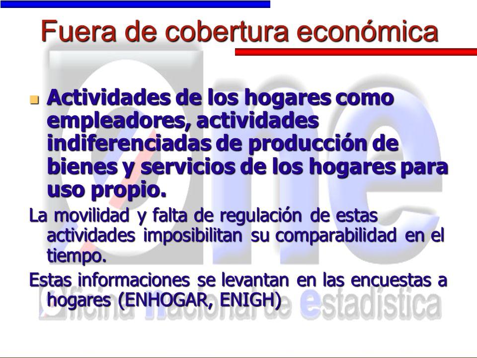 Fuera de cobertura económica Actividades de los hogares como empleadores, actividades indiferenciadas de producción de bienes y servicios de los hogares para uso propio.
