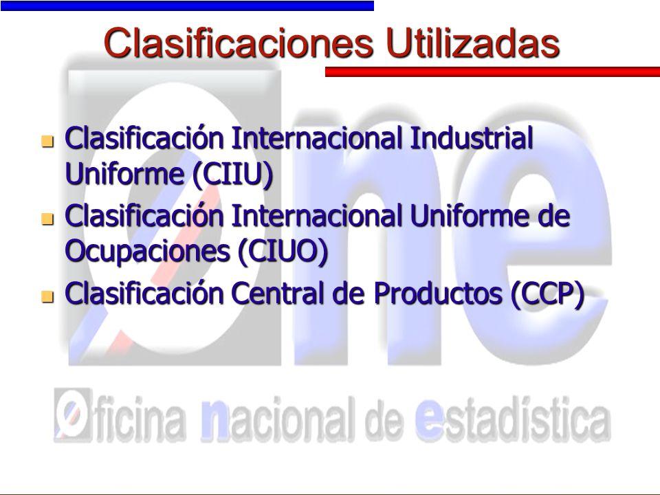 Clasificaciones Utilizadas Clasificación Internacional Industrial Uniforme (CIIU) Clasificación Internacional Industrial Uniforme (CIIU) Clasificación Internacional Uniforme de Ocupaciones (CIUO) Clasificación Internacional Uniforme de Ocupaciones (CIUO) Clasificación Central de Productos (CCP) Clasificación Central de Productos (CCP)