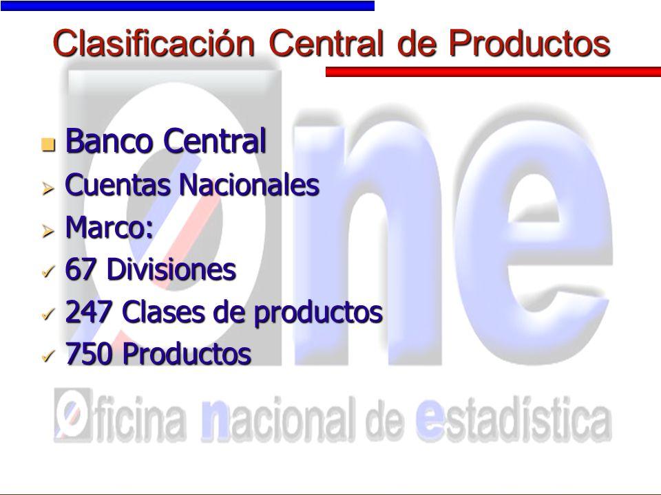 Clasificación Central de Productos Banco Central Banco Central Cuentas Nacionales Cuentas Nacionales Marco: Marco: 67 Divisiones 67 Divisiones 247 Clases de productos 247 Clases de productos 750 Productos 750 Productos