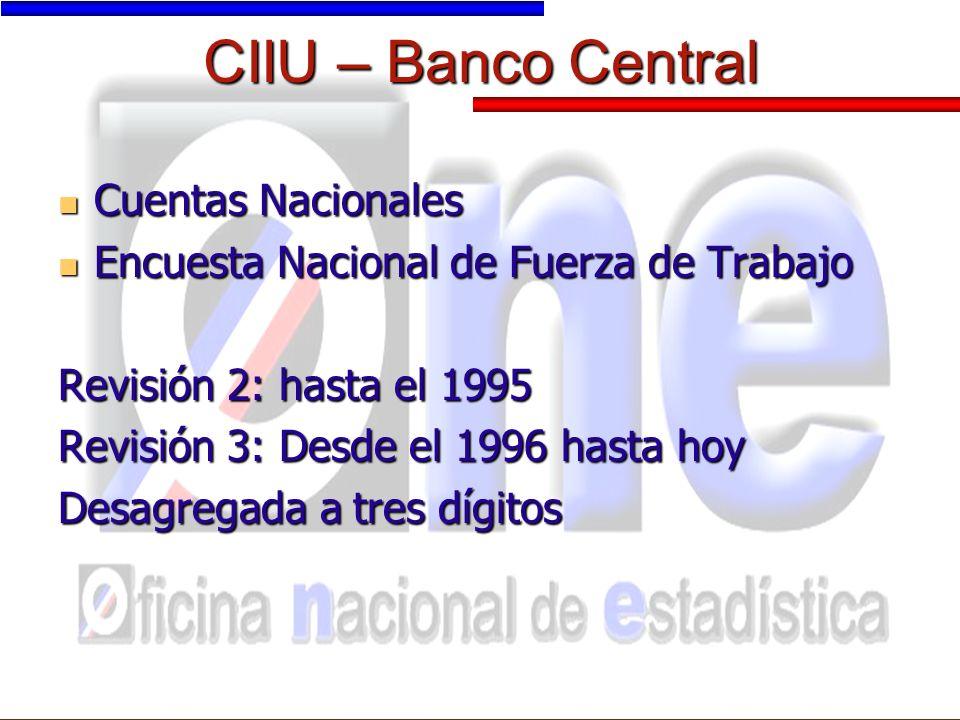 CIIU – Banco Central Cuentas Nacionales Cuentas Nacionales Encuesta Nacional de Fuerza de Trabajo Encuesta Nacional de Fuerza de Trabajo Revisión 2: hasta el 1995 Revisión 3: Desde el 1996 hasta hoy Desagregada a tres dígitos