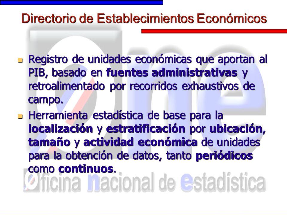 Directorio de Establecimientos Económicos Registro de unidades económicas que aportan al PIB, basado en fuentes administrativas y retroalimentado por recorridos exhaustivos de campo.