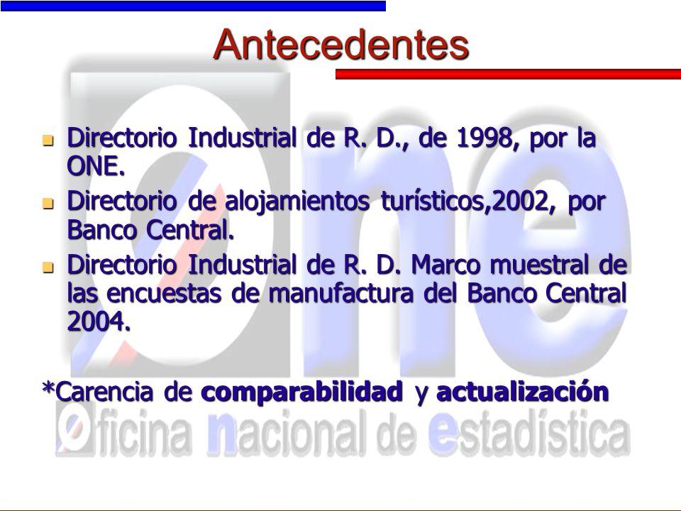 Antecedentes Directorio Industrial de R. D., de 1998, por la ONE.