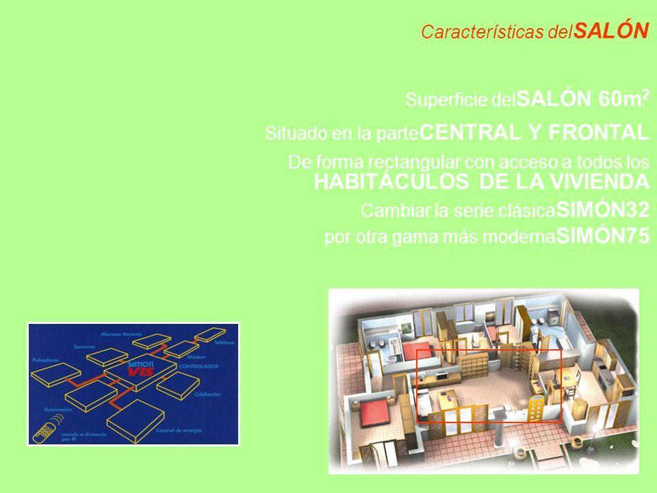 Características del SALÓN Superficie del SALÓN 60m 2 Situado en la parte CENTRAL Y FRONTAL De forma rectangular con acceso a todos los HABITÁCULOS DE