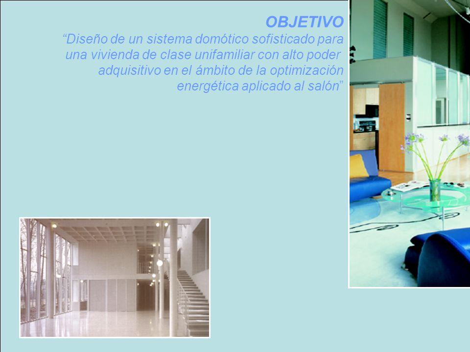OBJETIVO Diseño de un sistema domótico sofisticado para una vivienda de clase unifamiliar con alto poder adquisitivo en el ámbito de la optimización energética aplicado al salón