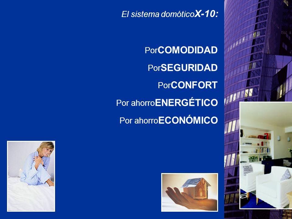 El sistema domótico X-10: Por COMODIDAD Por SEGURIDAD Por CONFORT Por ahorro ENERGÉTICO Por ahorro ECONÓMICO