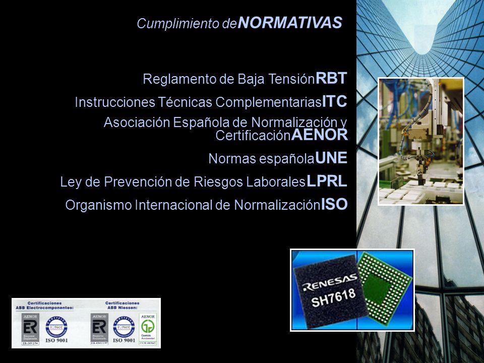 Cumplimiento de NORMATIVAS Reglamento de Baja Tensión RBT Instrucciones Técnicas Complementarias ITC Asociación Española de Normalización y Certificación AENOR Normas española UNE Ley de Prevención de Riesgos Laborales LPRL Organismo Internacional de Normalización ISO