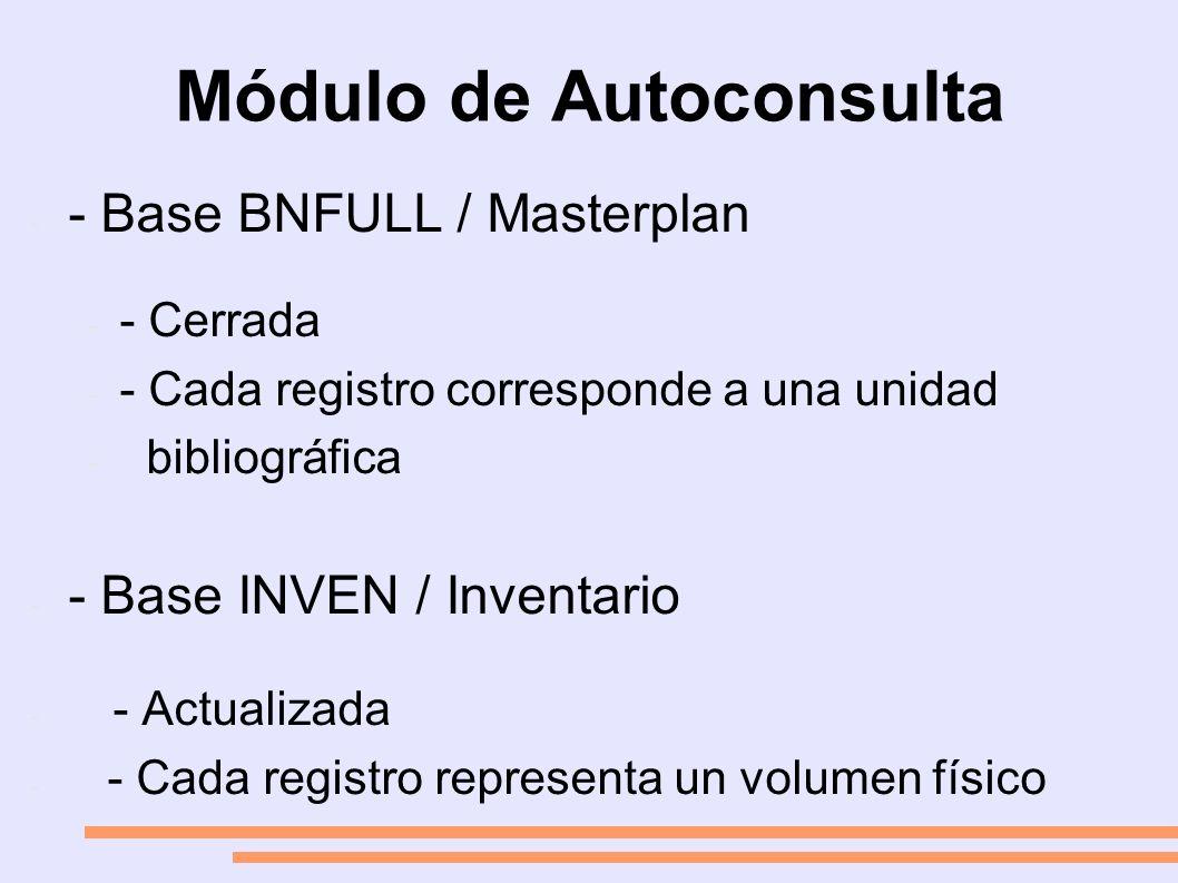 Módulo de Autoconsulta - - Base BNFULL / Masterplan - - Cerrada - - Cada registro corresponde a una unidad - bibliográfica - - Base INVEN / Inventario - - Actualizada - - Cada registro representa un volumen físico