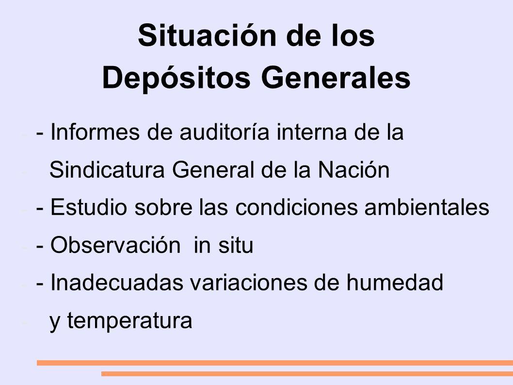 Situación de los Depósitos Generales - - Informes de auditoría interna de la - Sindicatura General de la Nación - - Estudio sobre las condiciones ambientales - - Observación in situ - - Inadecuadas variaciones de humedad - y temperatura