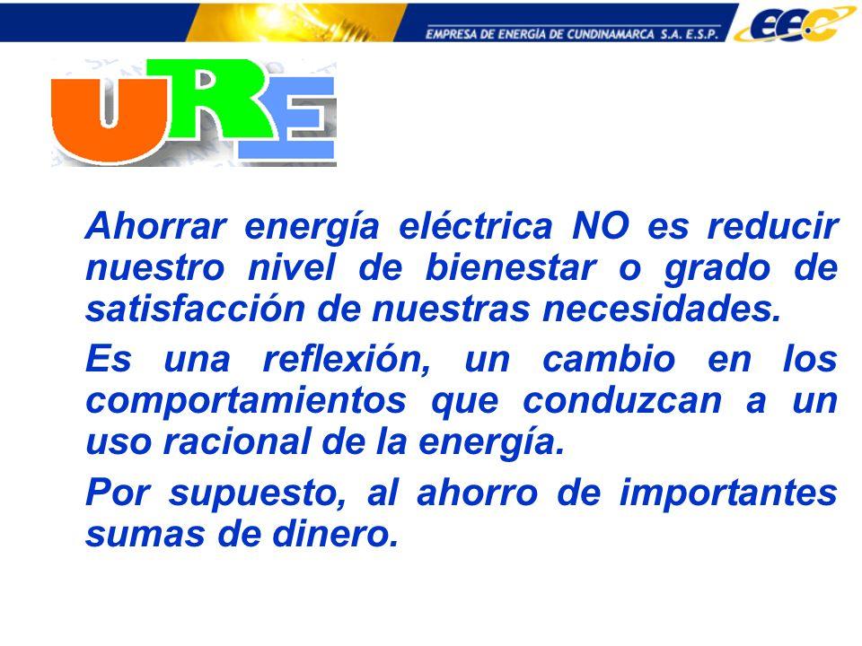 Ahorrar energía eléctrica NO es reducir nuestro nivel de bienestar o grado de satisfacción de nuestras necesidades. Es una reflexión, un cambio en los