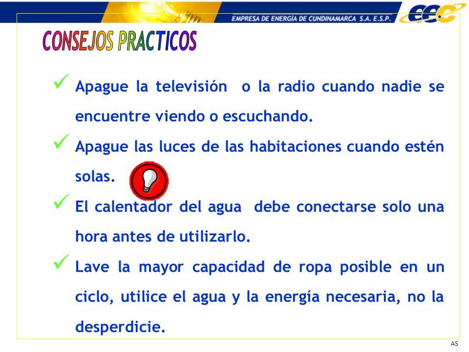 Apague la televisión o la radio cuando nadie se encuentre viendo o escuchando. Apague las luces de las habitaciones cuando estén solas. El calentador