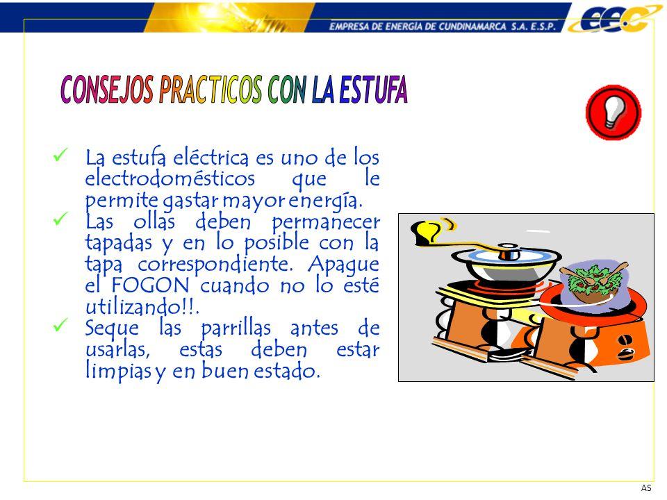 La estufa eléctrica es uno de los electrodomésticos que le permite gastar mayor energía. Las ollas deben permanecer tapadas y en lo posible con la tap