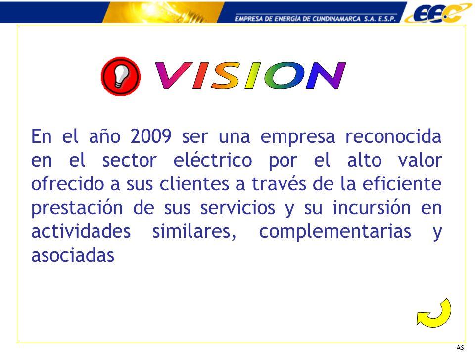 AS En el año 2009 ser una empresa reconocida en el sector eléctrico por el alto valor ofrecido a sus clientes a través de la eficiente prestación de s