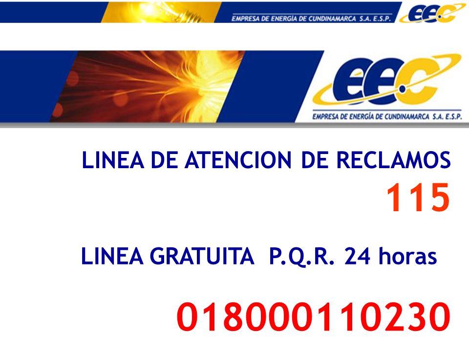 LINEA DE ATENCION DE RECLAMOS 115 LINEA GRATUITA P.Q.R. 24 horas 018000110230