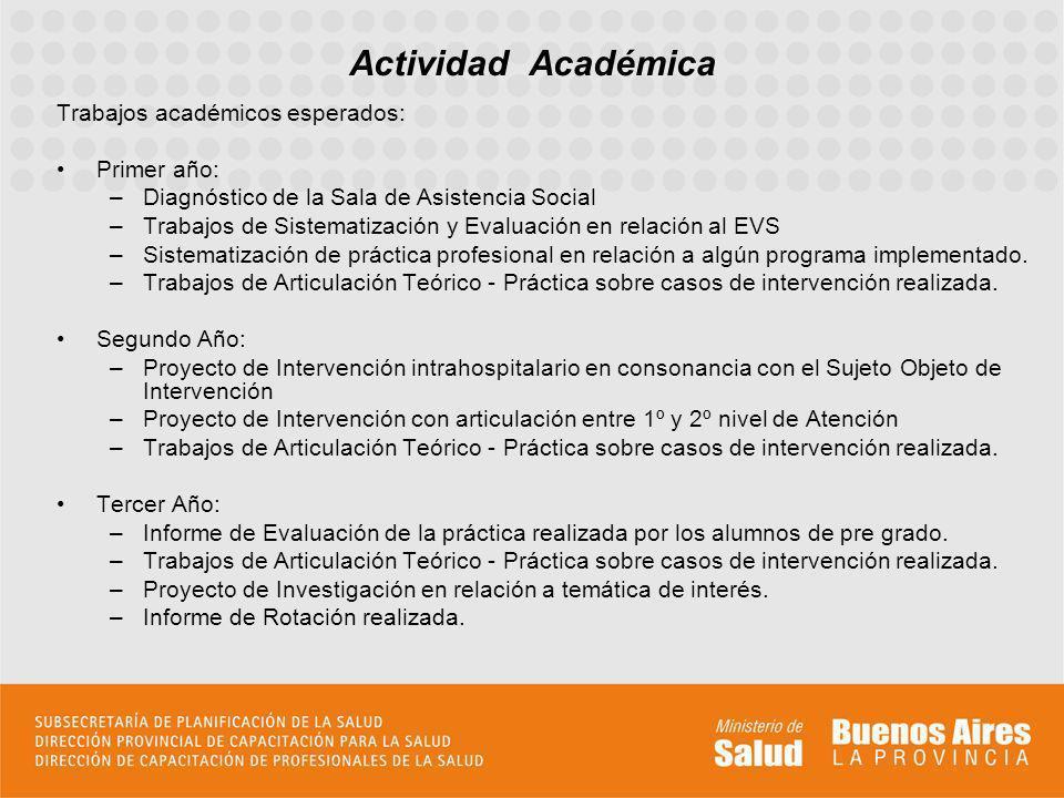 Trabajos académicos esperados: Primer año: –Diagnóstico de la Sala de Asistencia Social –Trabajos de Sistematización y Evaluación en relación al EVS –