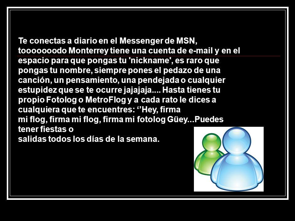 Te conectas a diario en el Messenger de MSN, tooooooodo Monterrey tiene una cuenta de e-mail y en el espacio para que pongas tu 'nickname', es raro qu
