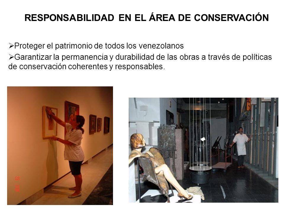 RESPONSABILIDAD EN EL ÁREA DE CONSERVACIÓN Proteger el patrimonio de todos los venezolanos Garantizar la permanencia y durabilidad de las obras a trav