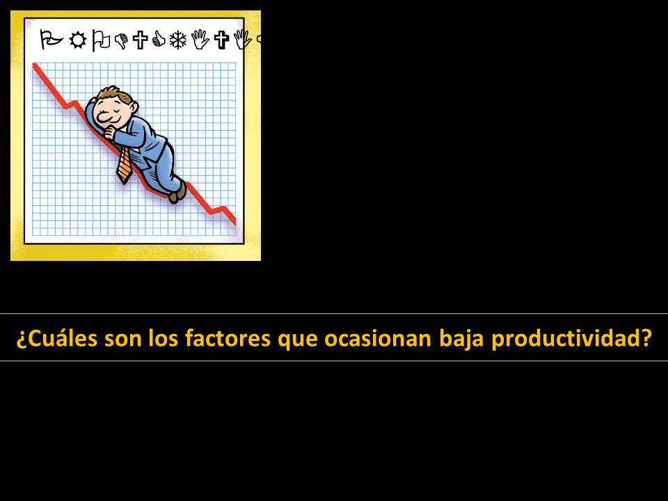 PRODUCTIVIDAD ¿Cuáles son los factores que ocasionan baja productividad